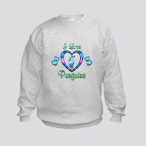 I Love Penguins Kids Sweatshirt