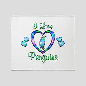 I Love Penguins Throw Blanket