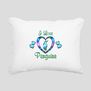I Love Penguins Rectangular Canvas Pillow