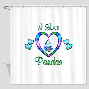 I Love Pandas Shower Curtain