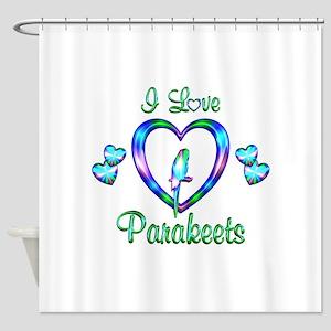 I Love Parakeets Shower Curtain