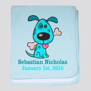 Blue Puppy CUSTOM Baby Name and Birthdate baby bla