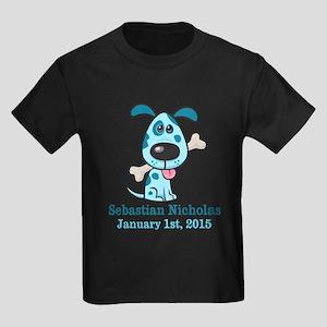 Blue Puppy CUSTOM Baby Name and Birthdate T-Shirt