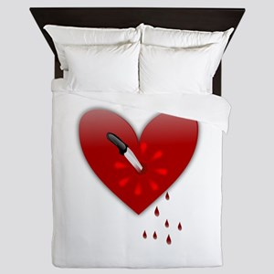 anti valentines bloody heart Queen Duvet