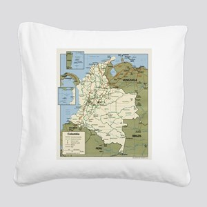 Colombia map Square Canvas Pillow