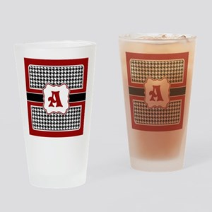 Houndstooth Monogram Drinking Glass