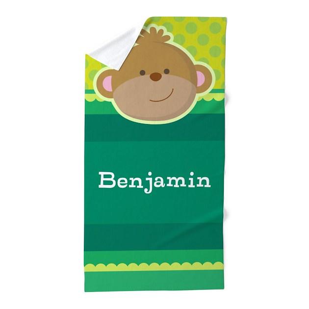 monkey jungle kids personalized beach towel by mainstreethomewares