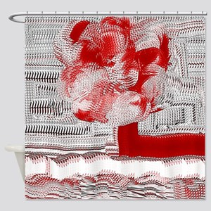 Red and White Woven Flower Shower Curtain