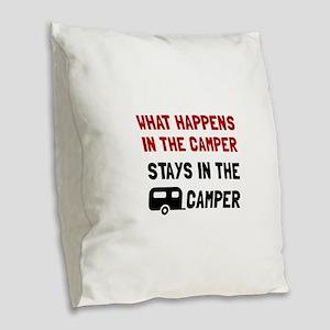 Happens Stays In Camper Burlap Throw Pillow
