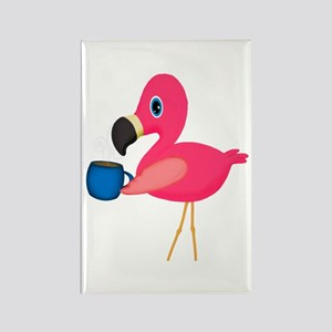Pink Flamingo with Blue Coffee Mug Magnets