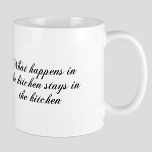 What happens in the kitchen-Cho black Mugs