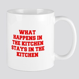 What happens in the kitchen-Fre red Mugs