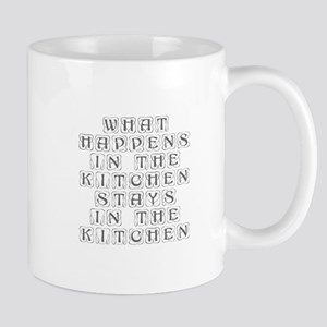 What happens in the kitchen-Kon gray Mugs