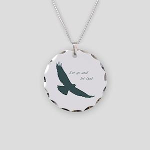 Let Go & God Inspirational Necklace Circle Cha