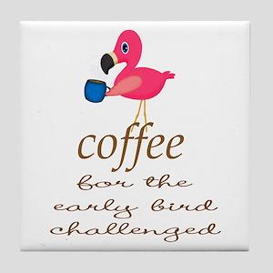 Pink Flamingo Eary Bird Tile Coaster