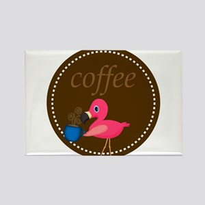 Brown Pink Flamingo Coffee Magnets