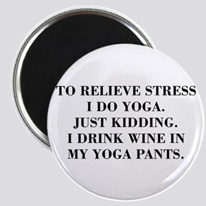 RELIEVE STRESS wine yoga pants-Bod black Magnets