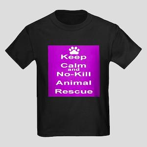 Keep Calm and No-Kill Animal Res Kids Dark T-Shirt