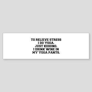RELIEVE STRESS wine yoga pants-Fre black Bumper St