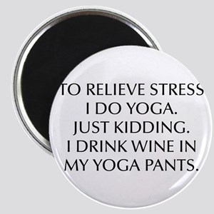 RELIEVE STRESS wine yoga pants-Opt black Magnets