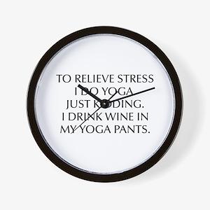 RELIEVE STRESS wine yoga pants-Opt black Wall Cloc