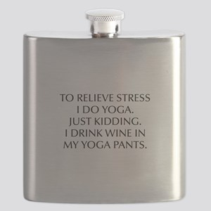 RELIEVE STRESS wine yoga pants-Opt black Flask