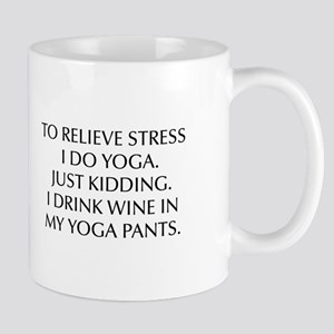 RELIEVE STRESS wine yoga pants-Opt black Mugs