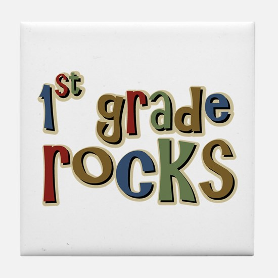 1st Grade Rocks First School Tile Coaster
