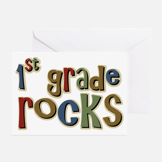 1st Grade Rocks First School Greeting Cards (Packa