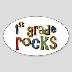 1st Grade Rocks First School Oval Sticker