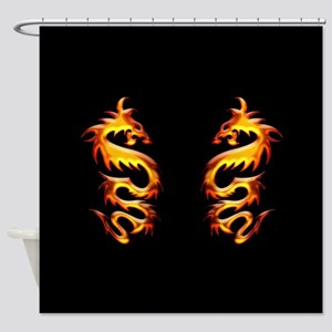 Twin Dragons Shower Curtain