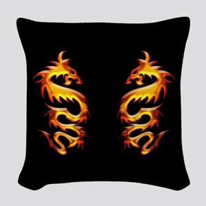 Twin Dragons Woven Throw Pillow