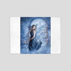 Snow Fairy fine art digital painting 5'x7'Area Rug