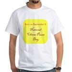 White T-shirt: Cheese Pizza Day