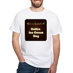 White T-shirt: Coffee Ice Cream Day