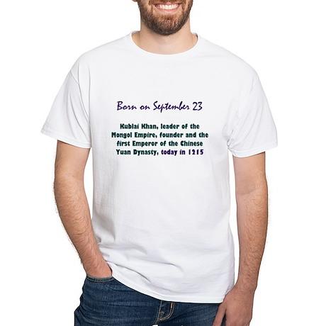 White T-shirt: Kublai Khan, leader of the Mongol E