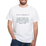 White T-shirt: Portuguese explorer Juan Rodriguez