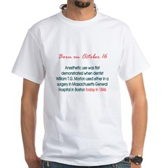 White T-shirt: Anesthetic use was first demonstrat