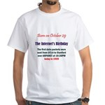 White T-shirt: Internet's Birthday The first data