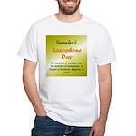 White T-shirt: Saxophone Day The birthday of Adolp
