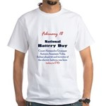 White T-shirt: Battery Day Count Alessandro Volta,