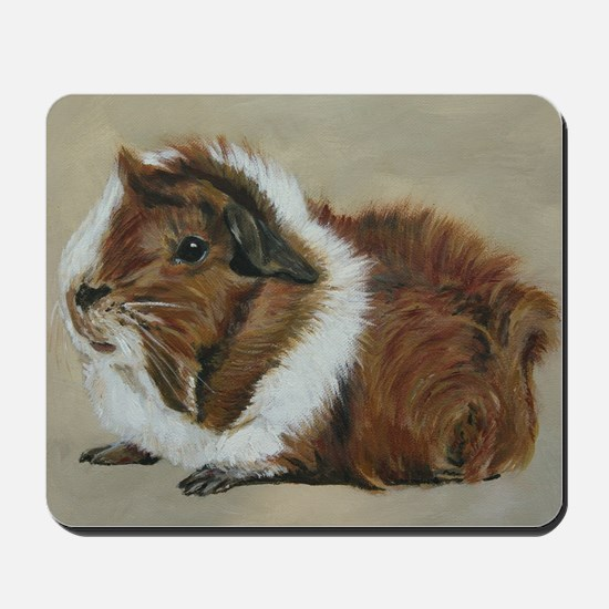 """""""Lucky"""" Brown and White Guinea Pig Mousepad"""