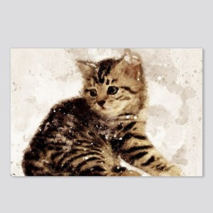 Cute little kitten, watercolor Postcards (Package