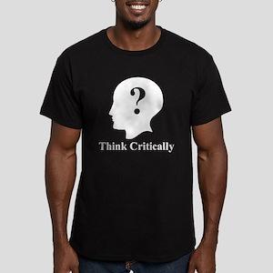 Think Critically Logo Men's Fitted T-Shirt (dark)