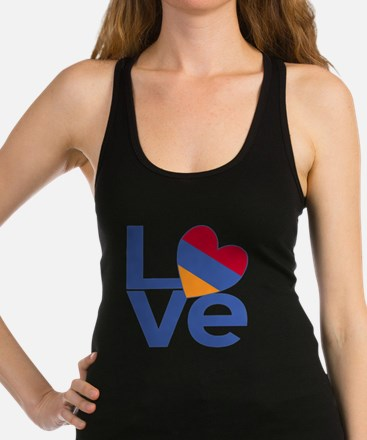 Blue Armenia LOVE Racerback Tank Top