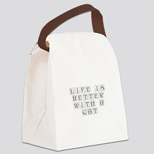 Life is better with a cat-Kon gray Canvas Lunch Ba