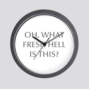 Oh what fresh hell is this-Opt gray Wall Clock