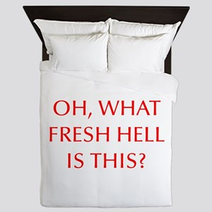 Oh what fresh hell is this-Opt red Queen Duvet