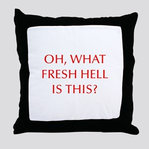 Oh what fresh hell is this-Opt red Throw Pillow
