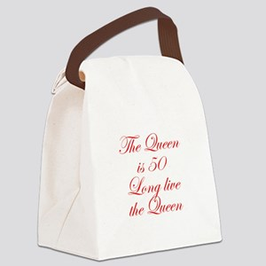 Queen is 50-Edw red Canvas Lunch Bag
